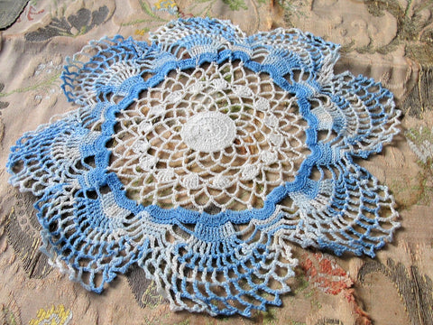 CHARMING Vintage Doily, Pretty Blue, Creamy White, Hand Crocheted Doily, Farmhouse Decor, French Country Cottage,Unique Design,Collectible Doilies