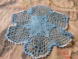 CHARMING Vintage Doily Pretty Blue Hand Crocheted Doily Farmhouse Decor, French Country Cottage,Unique Design Collectible Doilies
