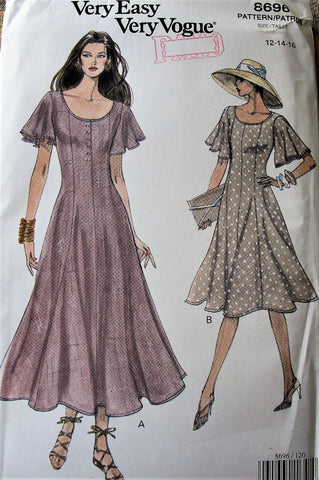FLATTERING Vogue 8696 Dress Pattern Flutter Sleeves Princess Seams Sizes 12-14-16 Vintage Sewing Pattern UNCUT