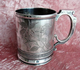 BEAUTIFUL Antique Victorian Silver Baby Cup Christening Mug Floral Engraved Meridan Silver Dated July 31st 1887 Collectible Silver