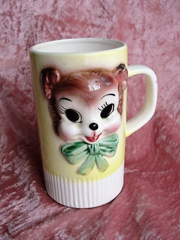 CUTE Miss Priss Style Teddy Bear Mug Cup Lefton Vintage Kitcsch Kitschy Anthropomorphic China Japan Kawaii Collectible