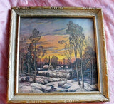 ANTIQUE 1920s Romantic Charming Framed Print Cozy Winter Scene Picure Very Thomas Kinkade Farm House Decor Collectible Winter Scenes