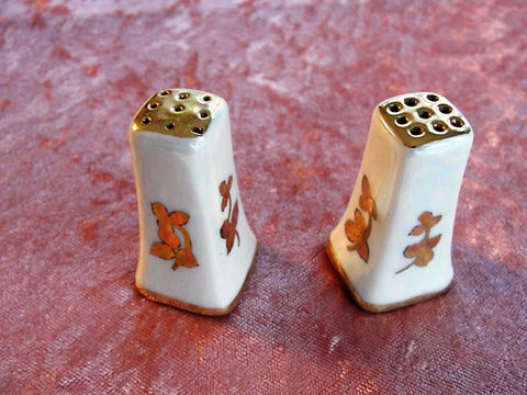 LOVELY Small Vintage 1920s Hand Painted Pearl Lustre Salt and Pepper Shakers Lusterware Gilt Tops Perfect For Special Luncheons or Shower Bridal Wedding Gift Collectible Shakers