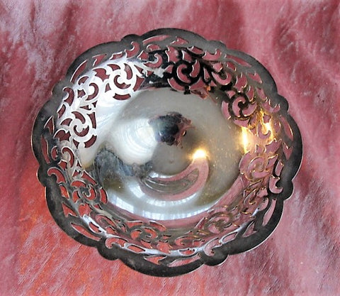 ORNATE 1920s Antique Silver Plated Tazza For Mints, Candies Serving Dish or Business Cards Quality English EPNS Silver Collectible Silver