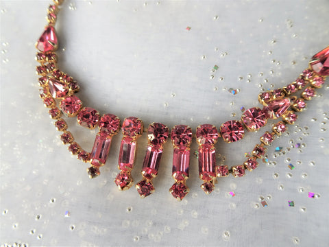 LOVELY Vintage Pink Rhinestone Necklace,Choker Style Sparkling Pink,Vintage Glass Necklace,Wedding Bridal Jewelry,Collectible Jewelry