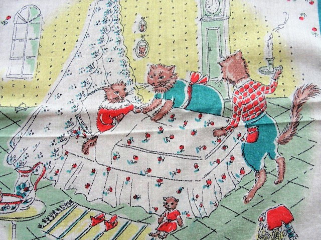 ADORABLE Vintage 1930s Hanky Childrens Handkerchief Dressed Cats Toys Nursery Scene Printed Child's Hankie GORGEOUS Vintage Hanky Great To Frame