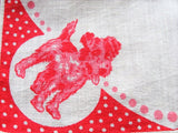 ADORABLE Vintage 1930s Hanky Childrens Handkerchief TERRIER Dog Puppy Printed Child's Hankie Great To Frame