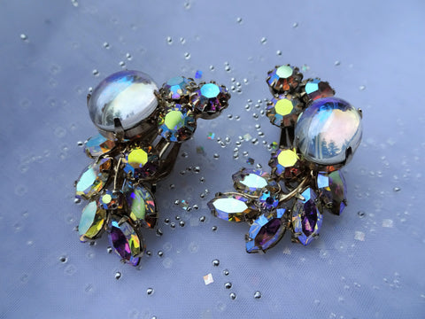 STUNNING Vintage Earrings,Art Glass Opal Like Stones and Glittering Aurora Borealis Rhinestones Clip Ons, Ear Climber Earrings,Collectible Mid Century Jewelry
