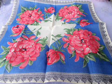 BEAUTIFUL Vintage Printed Floral Hanky Colorful Flowers Handkerchief To Frame Collectible Hankies,1950s Hankies, 1950s Hanky, 1950s Handkerchiefs, Mid Century Hankies