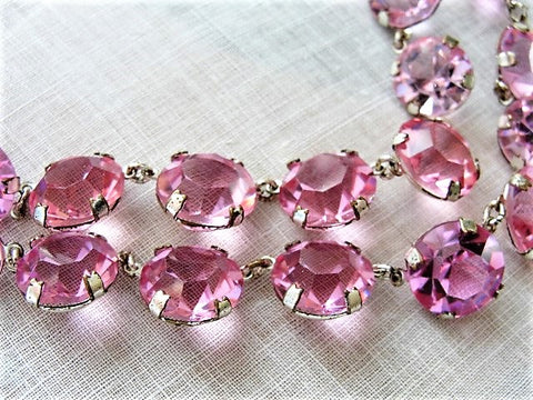SPARKLING Pink Cut Crystal Bead Necklace,Gorgeous Glittering High Quality 1950s Crystal Double Strand Necklace,Day Evening or Bridal Jewelry