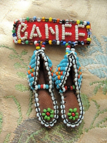 1950s Vintage Souvenir BANFF Beaded Moccasins Brooch Pin Canadian Rockies Native Indian Beadwork Colorful Brooch Beaded Jewelry Collectible