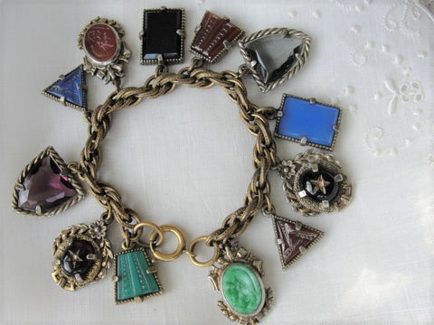 STUNNING Art Deco Czech Glass FOB Charm Bracelet 12 Detailed Watch Fobs,Quality 1920s-30s Unique Bracelet,Collectible Czech Glass Jewelry