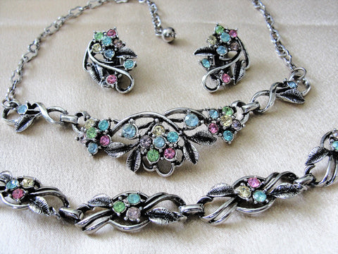 GORGEOUS Mid Century 50s Silver Tone Necklace,Bracelet and Earrings,Pink Blue Yellow Glass Rhinestones,Bridal Jewelry, Vintage Collectible Costume Jewelry