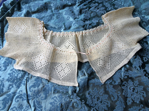 CHARMING Edwardian Hand Crochet Lace Corset Cover Top,Use in Heirloom Sewing, Farmhouse French Country Decor, Collectible
