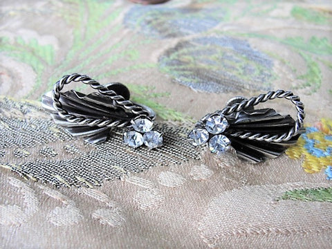 STRIKING Vintage Signed Continental Earrings, Screw Back Earrings Silver Tone and Sparkling Crystal Rhinestones Vintage Collectible Jewelry