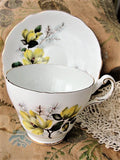 PRETTY Teacup and Saucer by REGENCY English Fine Bone China Vintage Yellow Flowers Cup and Saucer Collectible Teacups, Bridal Shower Gift
