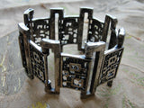 1960s 70s FABULOUS Robert Larin Brutalist Modernist Signed Wide Cuff Bracelet Silver and Pewter Large Bracelet UNIQUE Design Vintage Jewelry