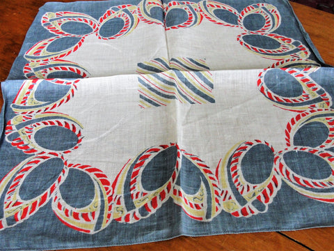 1940s UNIQUE Geometric Style Hanky,Handkerchief to Frame,Vintage Linen Printed Hanky,Collectible Vintage Hankies