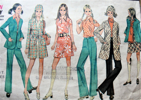 1960s MOD Coordinates Pattern McCALLS 2211 Dress,Blouse,Coat,Jacket,High Waist Pants and Hat Perfect Travel Wardrobe Bust 30.5 Vintage Sewing Pattern