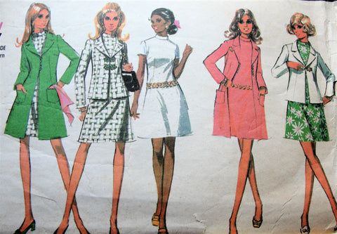 MOD 1960s Dress and Coat or Jacket Pattern McCALLS 2236 Classy A Line Dress Bust 34 Vintage Sewing Pattern