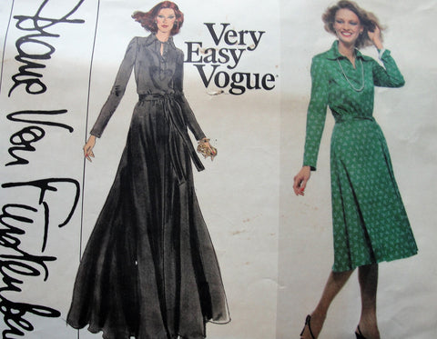 FAB 70s Diane Von Furstenberg Shirtwaist Dress Pattern,Very Easy Vogue 1730 Classy Tab Front, Pointed Collar,Flared Skirt,Fitted Bodice Bust 32 Vintage Sewing Pattern