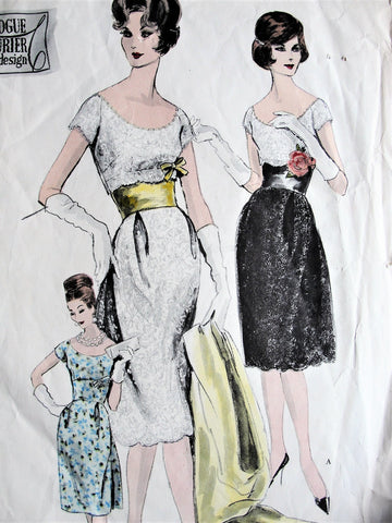 1960s STUNNING Evening Cocktail Dress, Strapless Slip and Stole Pattern VOGUE Couturier Design 1002 Wide Open Scoop Neckline,Figure Flattering Midriff Dress Ideal For Lace Bust 32 Vintage Sewing Pattern