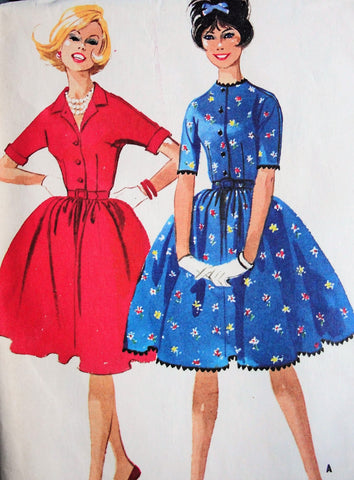 60s CUTE Shirtwaist Dress Pattern McCALLS 5953 Two Pretty Styles Day or After 5 Bust 32 Vintage Sewing Pattern