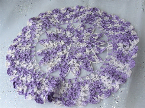 LOVELY Vintage Doily Lilac and Purple,Hand Crocheted Doily,Farmhouse Decor,French Country Cottage,Vintage Collectible Doilies