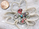 Authentic ANTIQUE French Large Rosette Flower Silk Velvet,Beads, Silver Wire Thread UNIQUE Millinery Hats Victorian Bridal Wedding