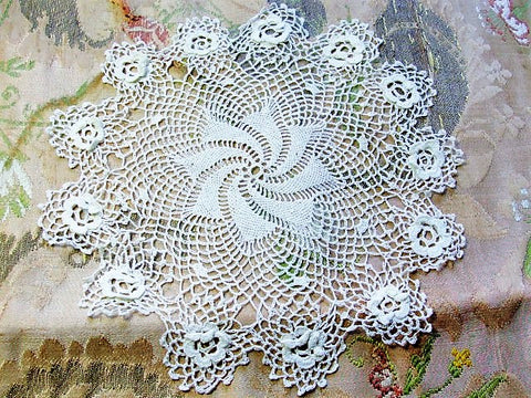 Victorian Fine Irish Crochet Lace Doily Raised Roses Collectible Doilies