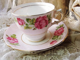 PRETTY Vintage English Colclough Tea Cup and Saucer PINK ROSES for Bridal Luncheons,Showers,Hostess Gift, Bridesmaid Gift, Wedding, Alice in Wonderland Tea Party