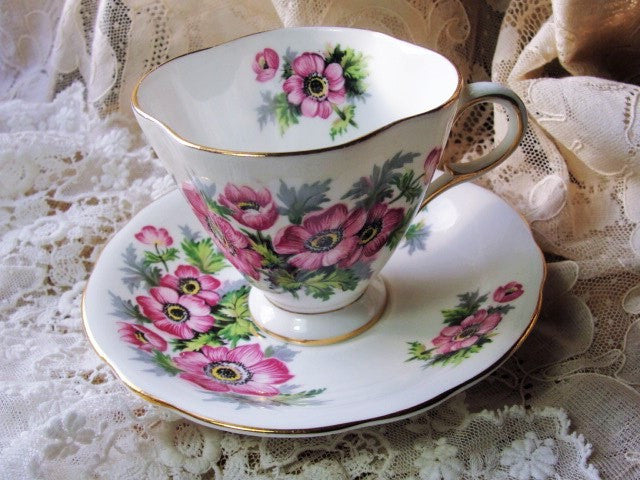 CHEERFUL Vintage English Tea Cup and Saucer PINK Flowers for Bridal Luncheons,Showers,Hostess Gift, Bridesmaid Gift, Wedding, Alice in Wonderland Tea Party