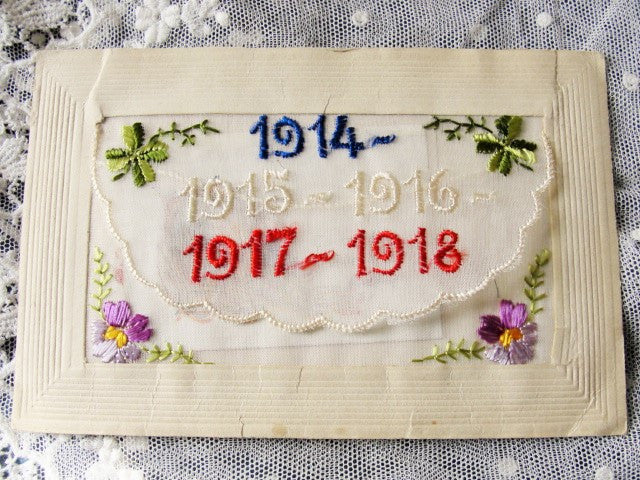 Antique Souvenir Beautiful Silk Embroidered Postcard From France World War I