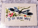 Original WW I Silk Embroidered Souvenir Postcard from France Beautiful Embroidery DragonFly Flowers