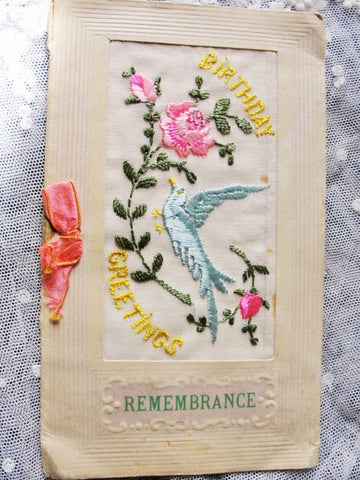 Antique World War 1 Silk Embroidered Birthday Greeting Souvenir Postcard Greeting Card from France