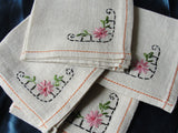 SWEET Vintage 1930s Luncheon Tea Time Napkins Set Pretty Pink Embroidery Never Used