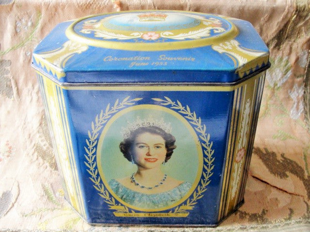 Vintage ROYALTY Scottish Gray and Dunn Biscuit Tin Coronation Souvenir June 1953 Queen Elizabeth II England Perfect Tea Cannister