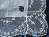 1950s Vintage Irish Linen WIDE Lace Hankie BRIDAL WEDDING HANDKERCHIEF Special Bridal Hanky