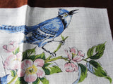BEAUTIFUL Vintage Printed Hanky BIRDS Hankie BlueJays Blue Birds Handkerchief Lovely To Frame