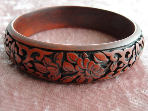 ANTIQUE Hand Carved Cinnabar Bangle Bracelet, Exceptional Detailed Carving, Red Cinnabar,Intricate Carved Design, Lovely To Wear or Display