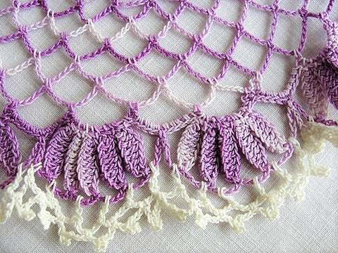 VINTAGE PURPLE Doily,Hand Crocheted Centerpiece, Pretty Doilies,Farmhouse Decor, French Cottage Decor, Collectible Vintage Doilies