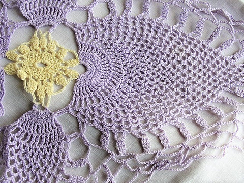 VINTAGE Pretty Lavender and Buttery Yellow Doily, Hand Crocheted Centerpiece, Farmhouse Decor, French Cottage Decor, Collectible Vintage Doilies