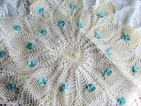 AMAZING Huge Doily or Centerpiece, Vintage Hand Crocheted Beautiful Table Topper Creamy White Applied BLUE Ribbons and Pearls, Unique Doilies