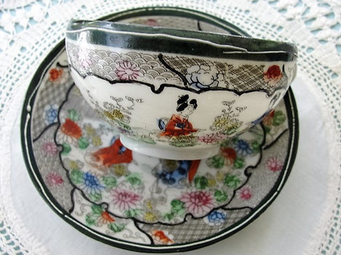 LOVELY Antique Oriental Geisha Girl Fine China Teacup and Saucer Hand Painted Highly Decorative Cup and Saucer Collectible