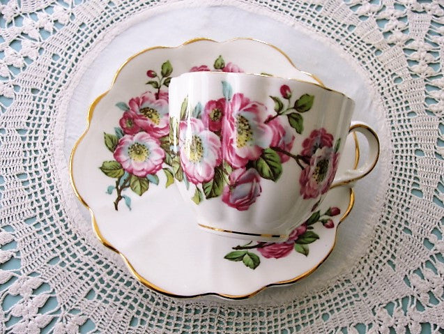 CHEERFUL Vintage English Tea Cup and Saucer Pretty PINK Flowers for Bridal Luncheons,Showers,Hostess Gift, Bridesmaid Gift, Wedding