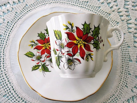 CHEERFUL Christmas Poinsetta Flowers Vintage Teacup and Saucer English Bone China Holiday Cup and Saucer Xmas TeaTime