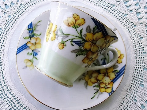 VINTAGE OCCUPIED Japan Teacup and Saucer Yellow Flowers Cup and Saucer Collectible