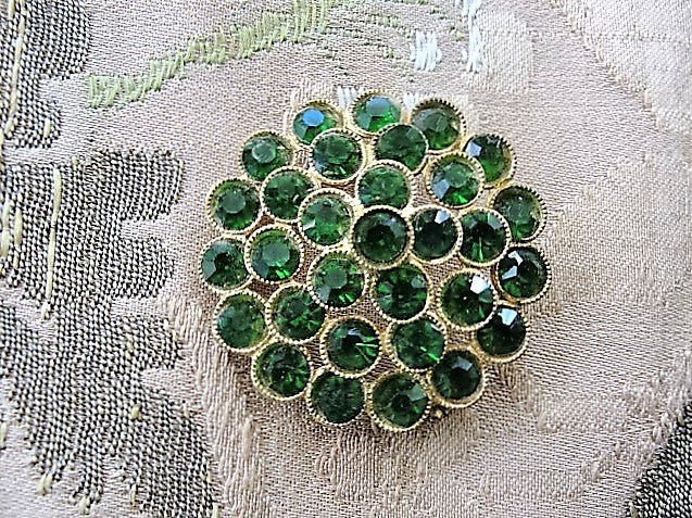 STUNNING Vintage Signed Czech Emerald Green Rhinestone Brooch Dazzling Pin Costume Jewelry