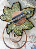 AMAZING Eames Era Matisse Renoir Copper White Enamel Leaf Brooch Pin FAB Vintage Costume Jewelry