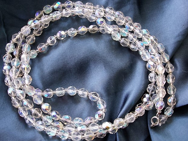1950s BEAUTIFUL Swarovski Cut Crystal Opera Length Necklace Aurora Borealis Cut Beads 46 inches Length Vintage Jewelry